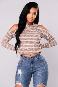 New In Town Top - Brown/Ivory