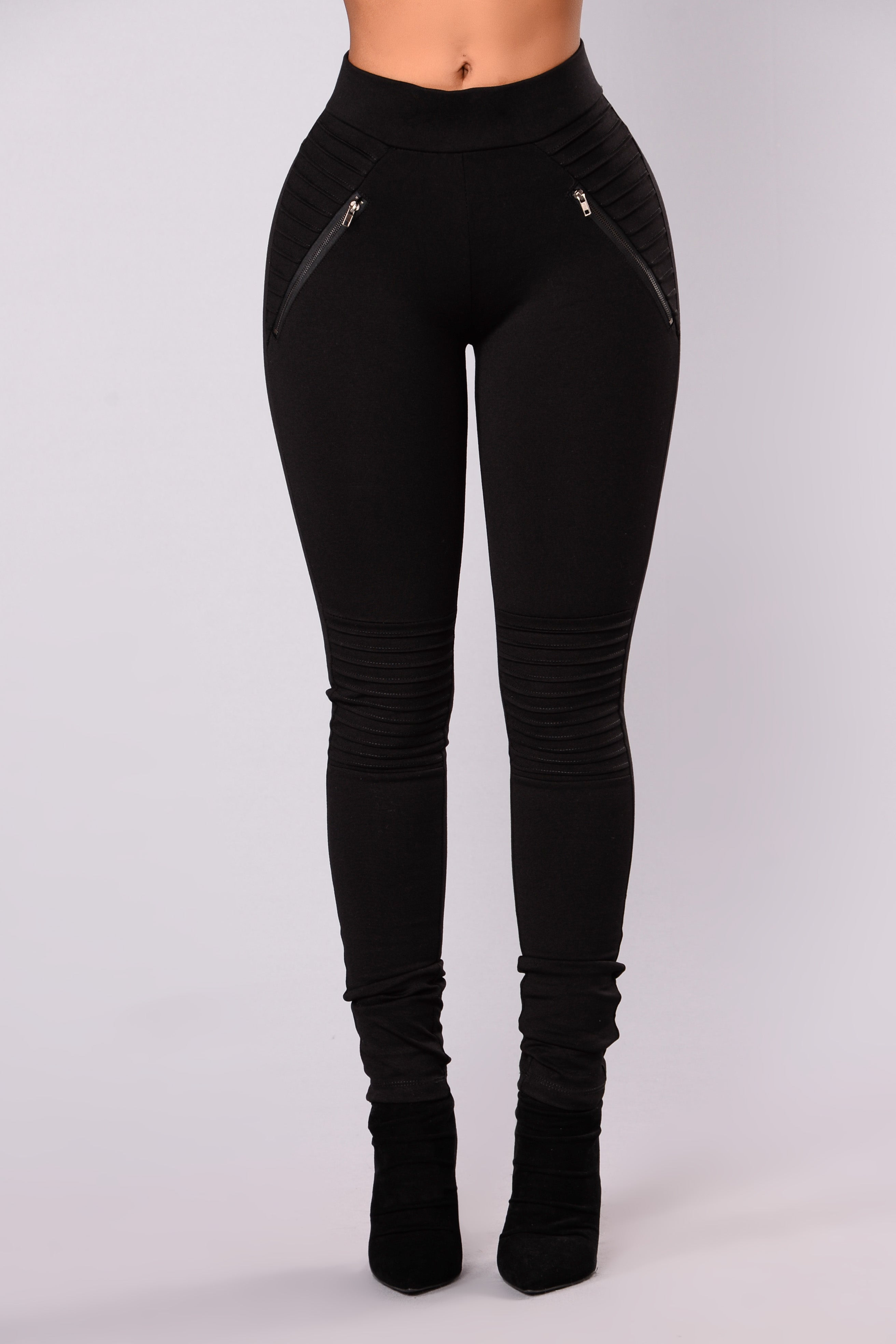 b1b3e008b Bad Gal Motto Zip Ponte Pants - Black