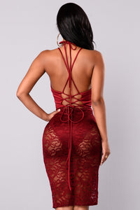 Lace Trace Dress - Wine