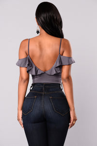 Raya Ruffle Bodysuit - Dusty Purple