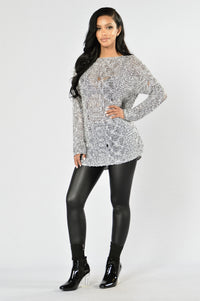 Baby It's Chilly Sweater - White/Black