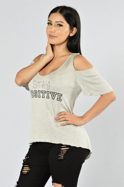 Stay Positive Top - Heather Grey