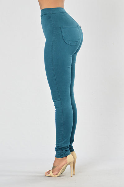 Super High Waist Denim Skinnies - Teal