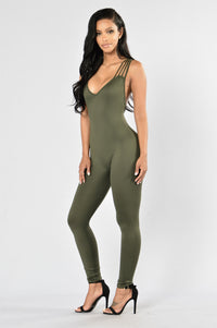Out Of My Way Jumpsuit - Olive Angle 1
