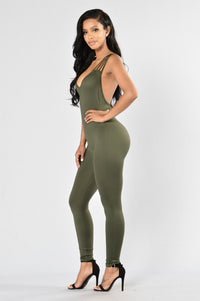 Out Of My Way Jumpsuit - Olive Angle 3