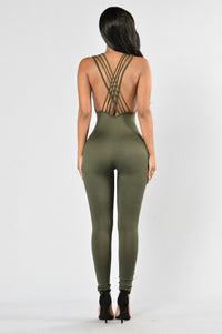 Out Of My Way Jumpsuit - Olive Angle 2