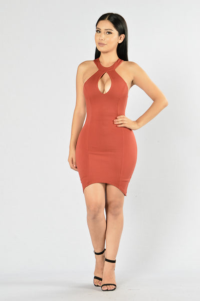 Heat of the Moment Dress - Rust