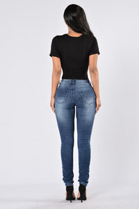 Walk This Way Moto Jeans - Dark Indigo Angle 5