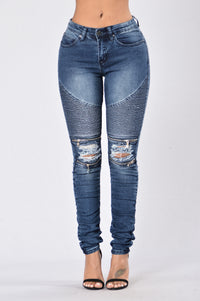 Walk This Way Moto Jeans - Dark Indigo Angle 1