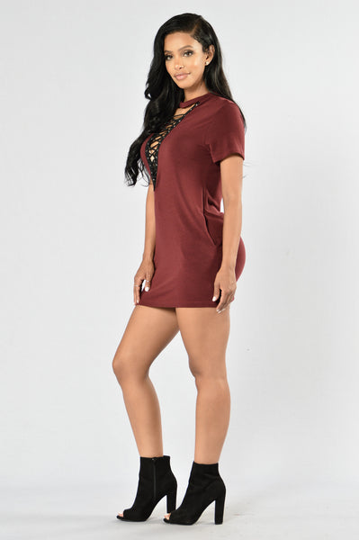 Strung Out Tunic - Burgundy