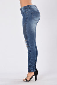 Walk This Way Moto Jeans - Dark Indigo Angle 4