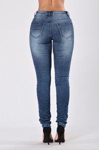 Walk This Way Moto Jeans - Dark Indigo Angle 3