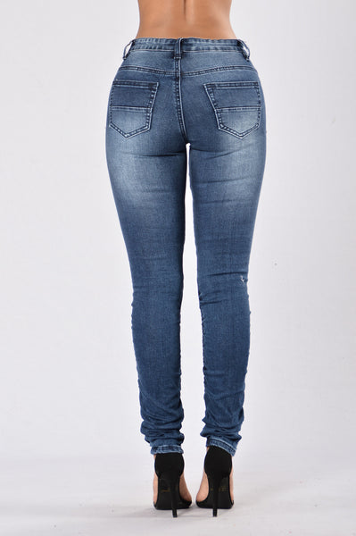 Walk This Way Moto Jeans - Dark Indigo