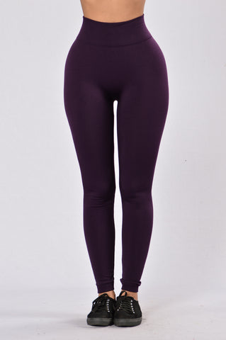 Yes Fleece Leggings - Purple