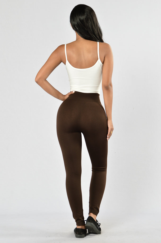Yes Fleece Leggings - Coffee