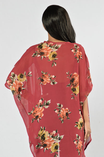 You Can't Hurry Love Kimono - Burgundy