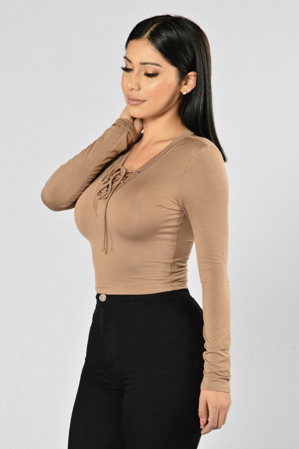 A Little Peek Top - Mocha