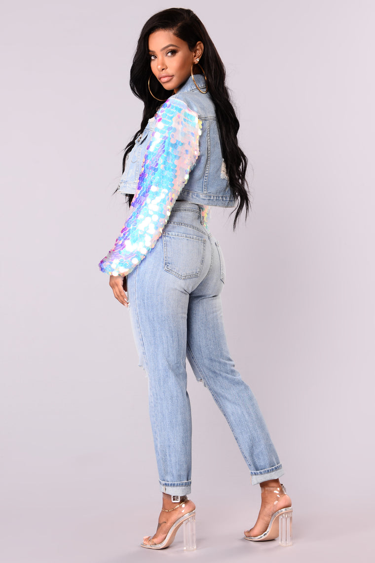 Obsessed With Sequins Denim Jacket - Light Denim