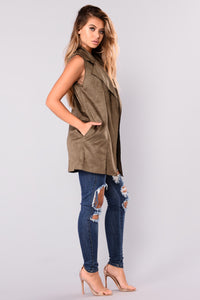 Lock It Down Suede Vest - Olive