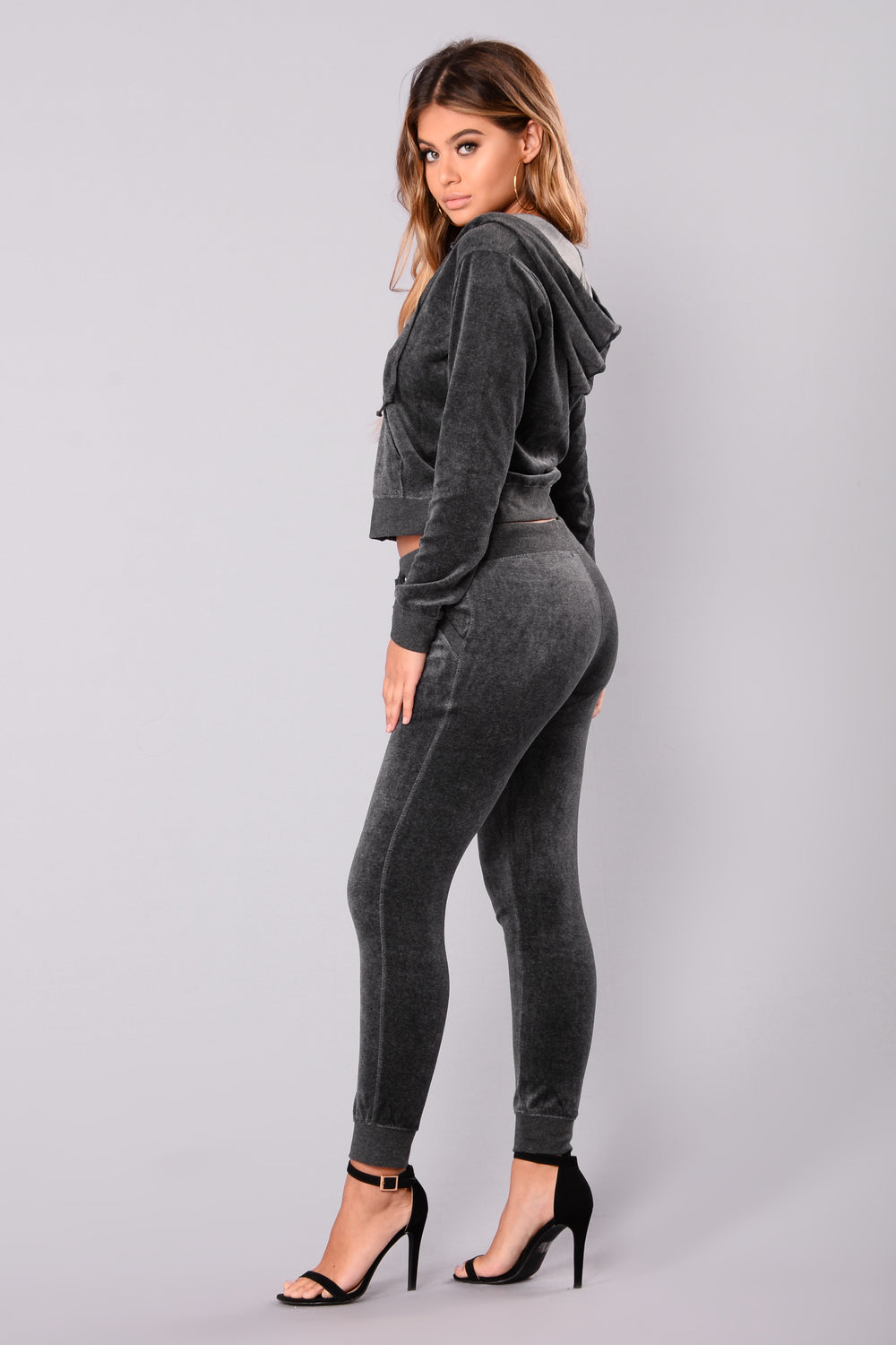 The Original Trendsetter Velour Pants - Charcoal