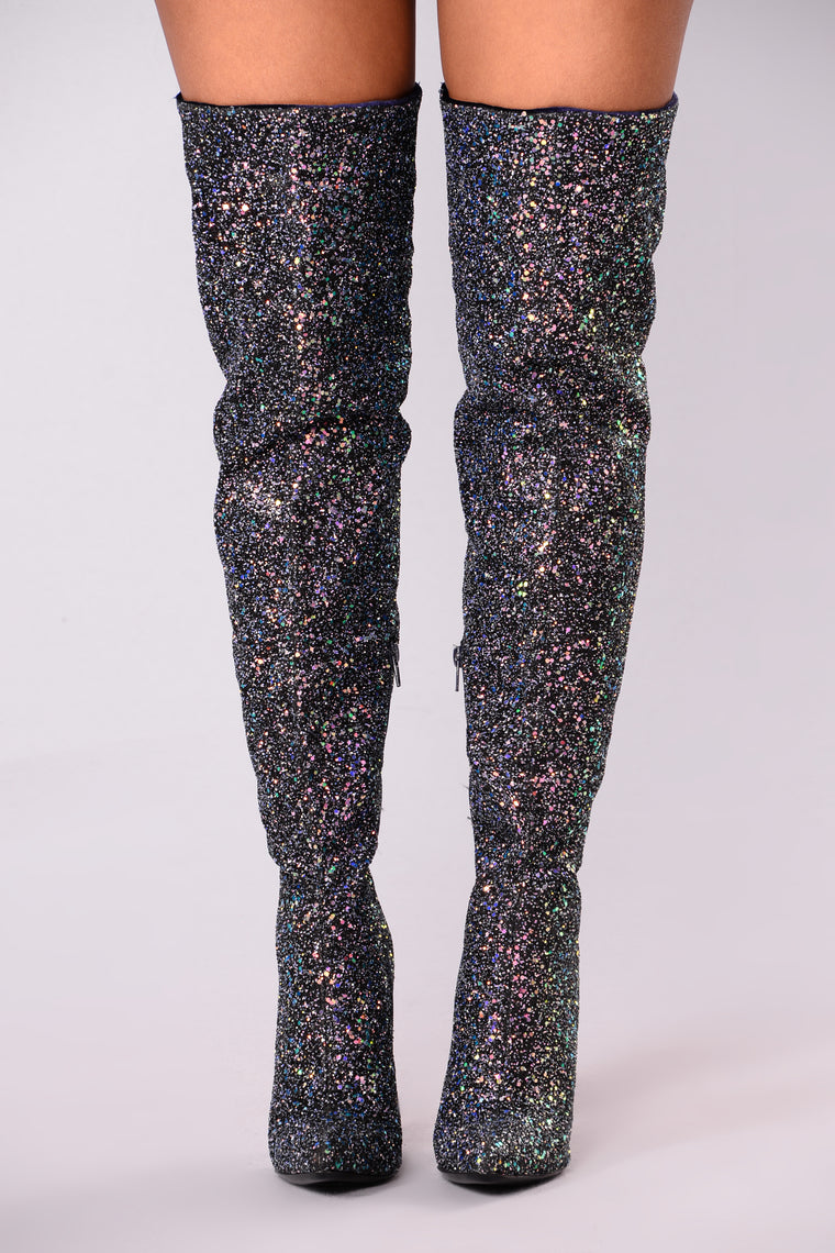 Just Add Glitter Over The Knee Boot - Black