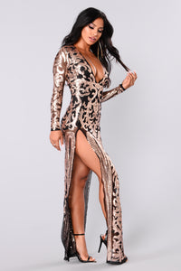 Queen Of Spades Sequin Dress - Black/Rose