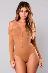 Fool In Love Off Shoulder Bodysuit - Mustard
