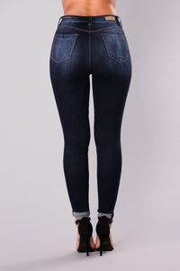 A Denim Affair Ankle Jeans - Dark Denim