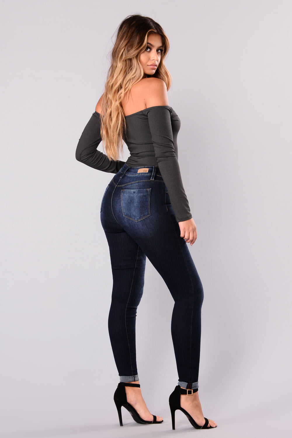 Fool In Love Off Shoulder Bodysuit - Charcoal