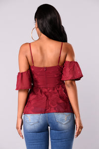 Let Love In Lace Top - Burgundy