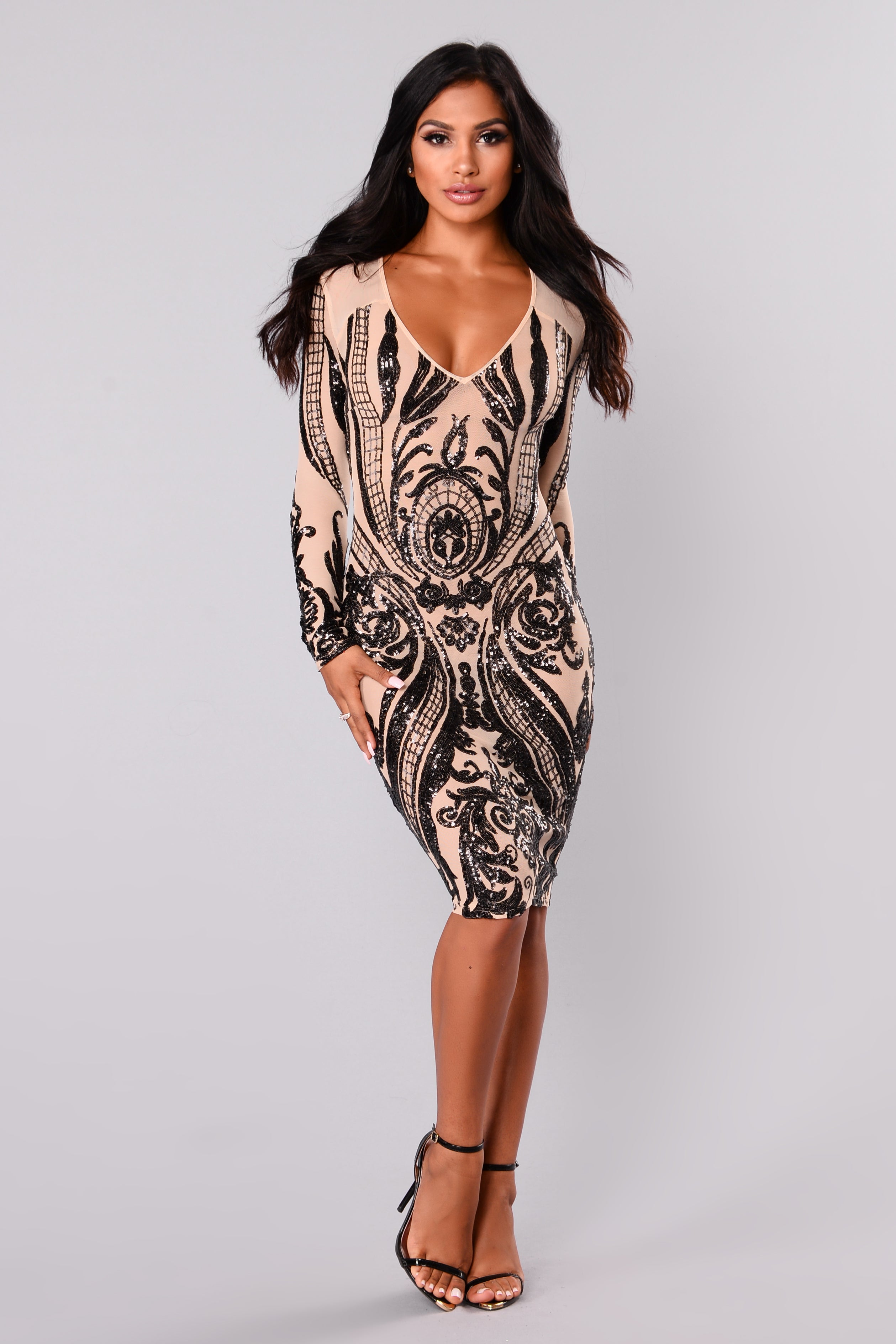 Miss Fortune Sequin Dress - Nudeblack-4986