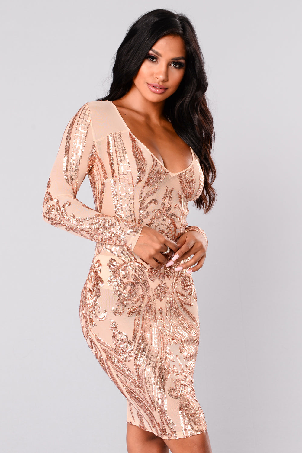 Miss Fortune Sequin Dress Nude Rose Gold