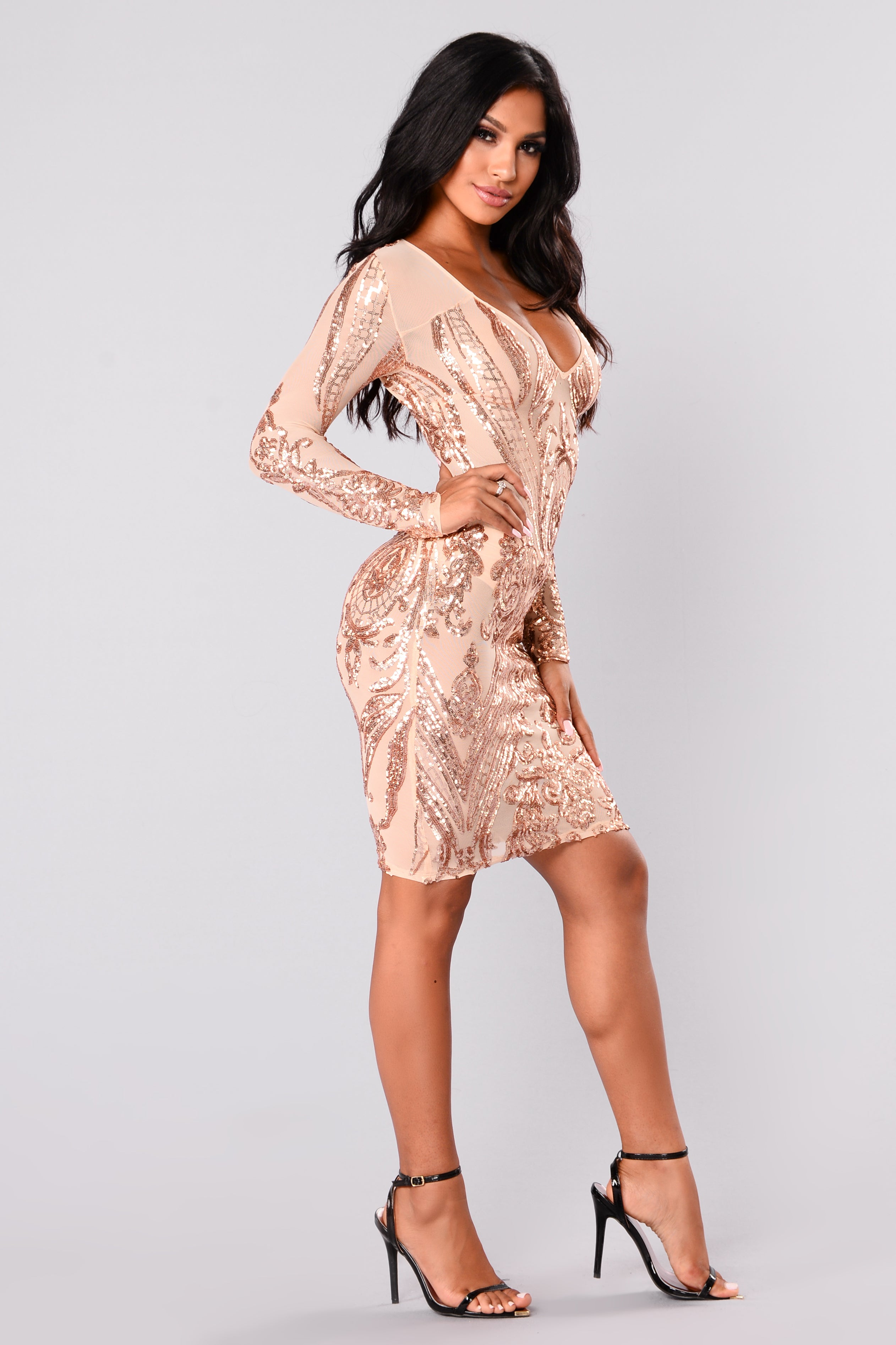 Miss Fortune Sequin Dress - Nuderose Gold-3375