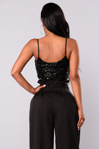 Tamika Sequin Top - Black
