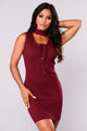 Riled Up Lace Up Dress - Burgundy