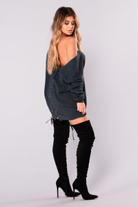 Marianna Lace Up Sweater - Indigo