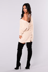 Marianna Lace Up Sweater - Beige