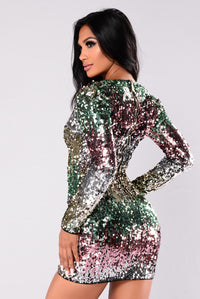 Fun Loving Sequin Dress - Green Ombre