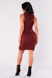Evangelina Knit Dress - Wine