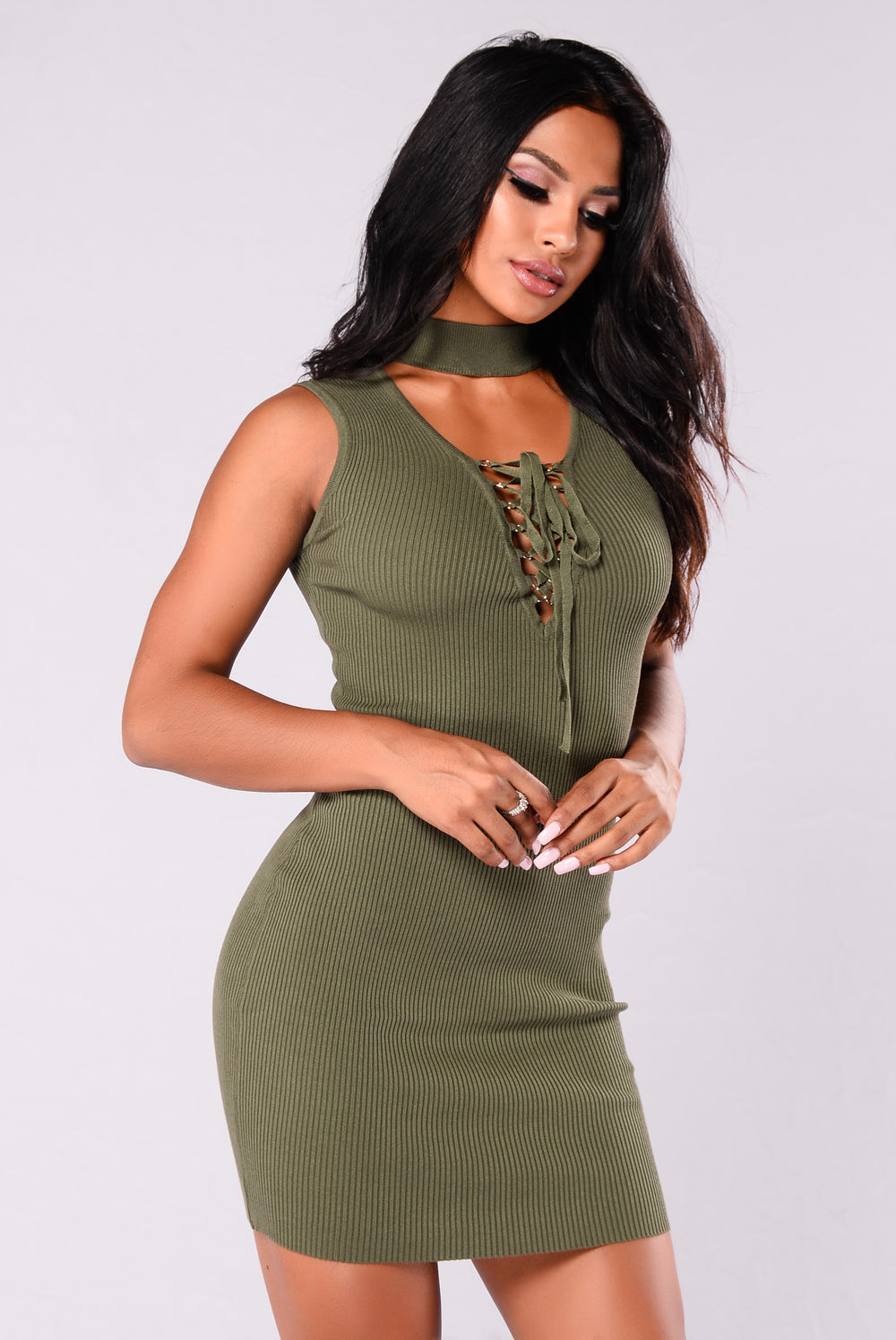 Riled Up Lace Up Dress - Hunter