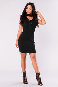 Riled Up Lace Up Dress - Black