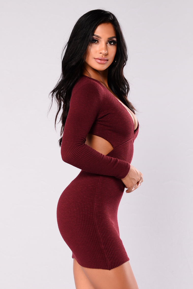 Mercedes Ribbed Dress - Burgundy