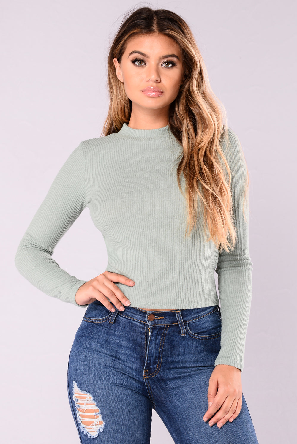 Wanda Sweater Top - Dusty Mint
