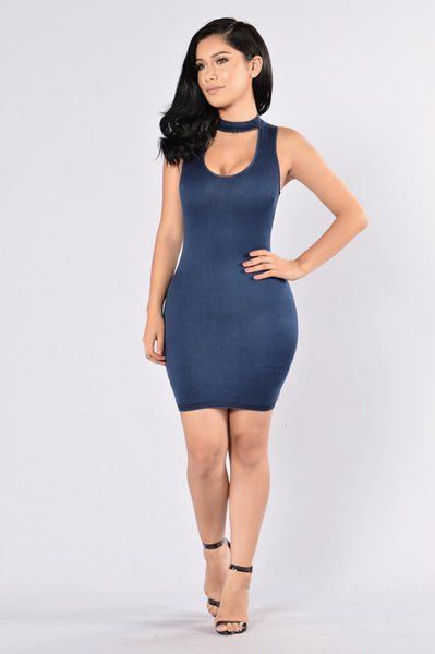 Motorboat Dress - Dark Denim