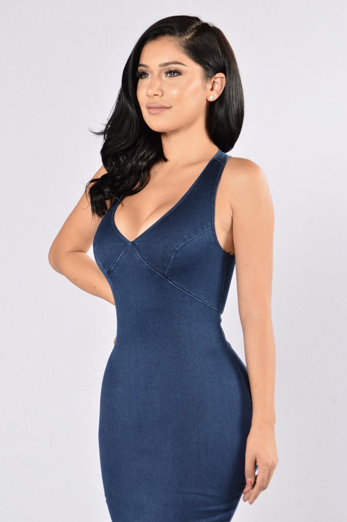 Hot Rod Dress - Dark Denim