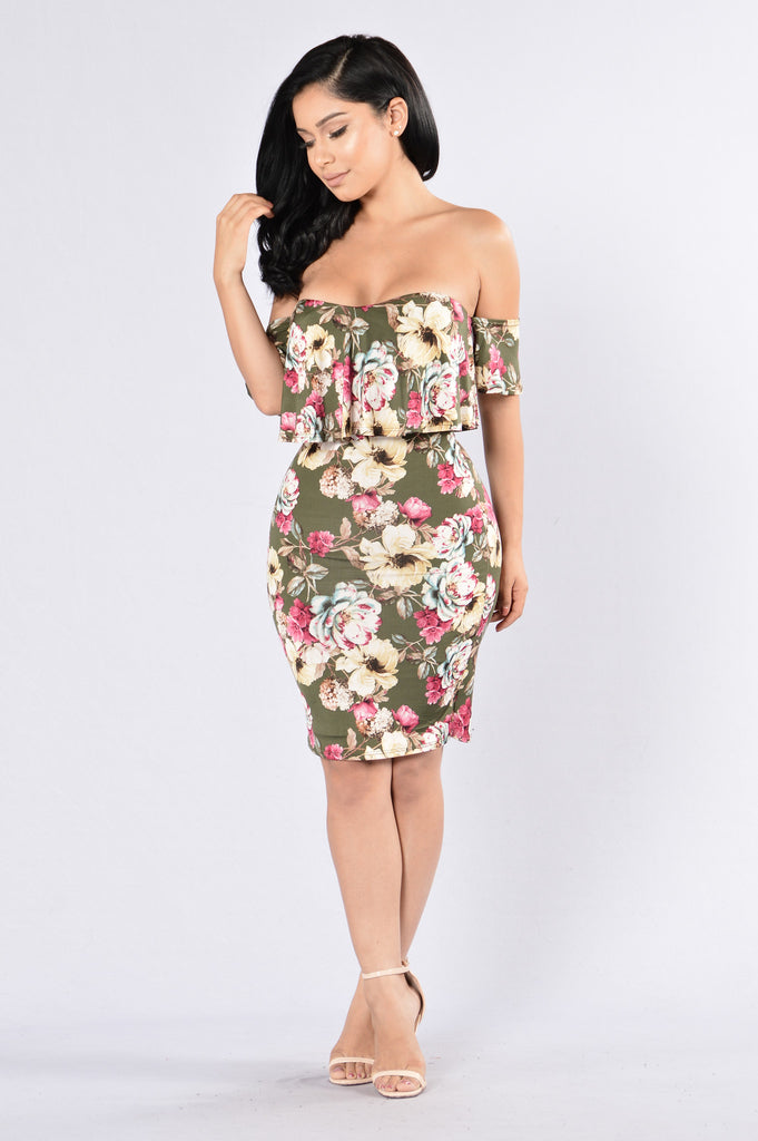 Buy Me Flowers Dress - Olive