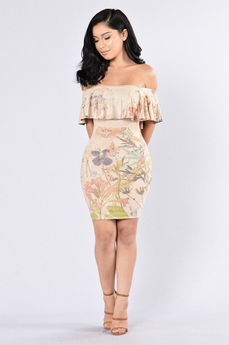 Sweet Florals Dress - Tan