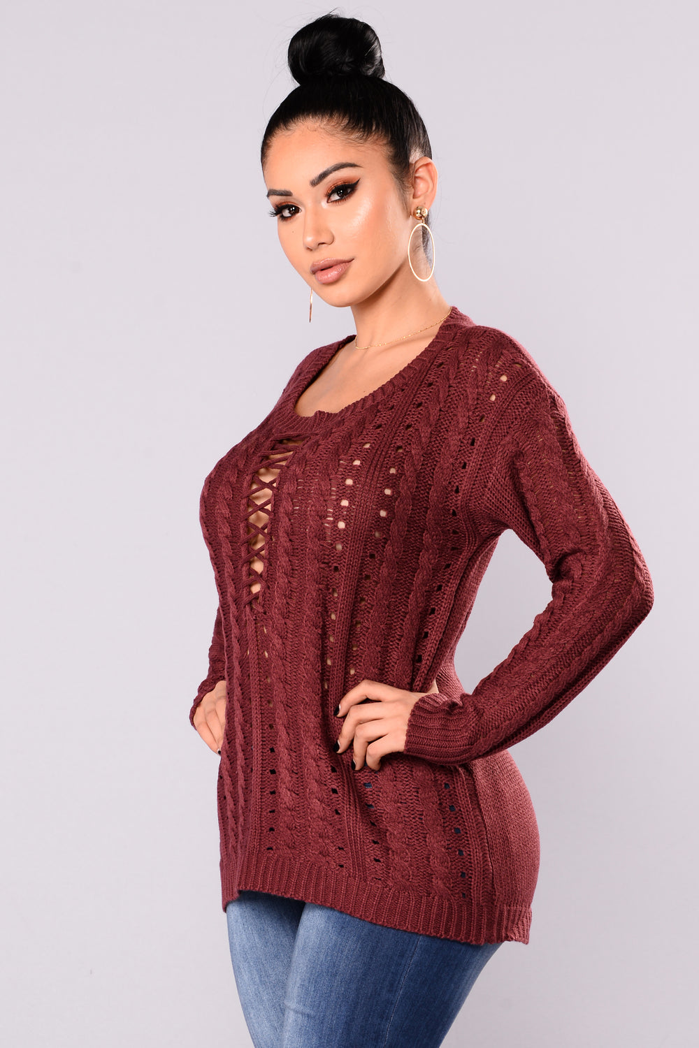 Estella Lace Up Sweater - Burgundy