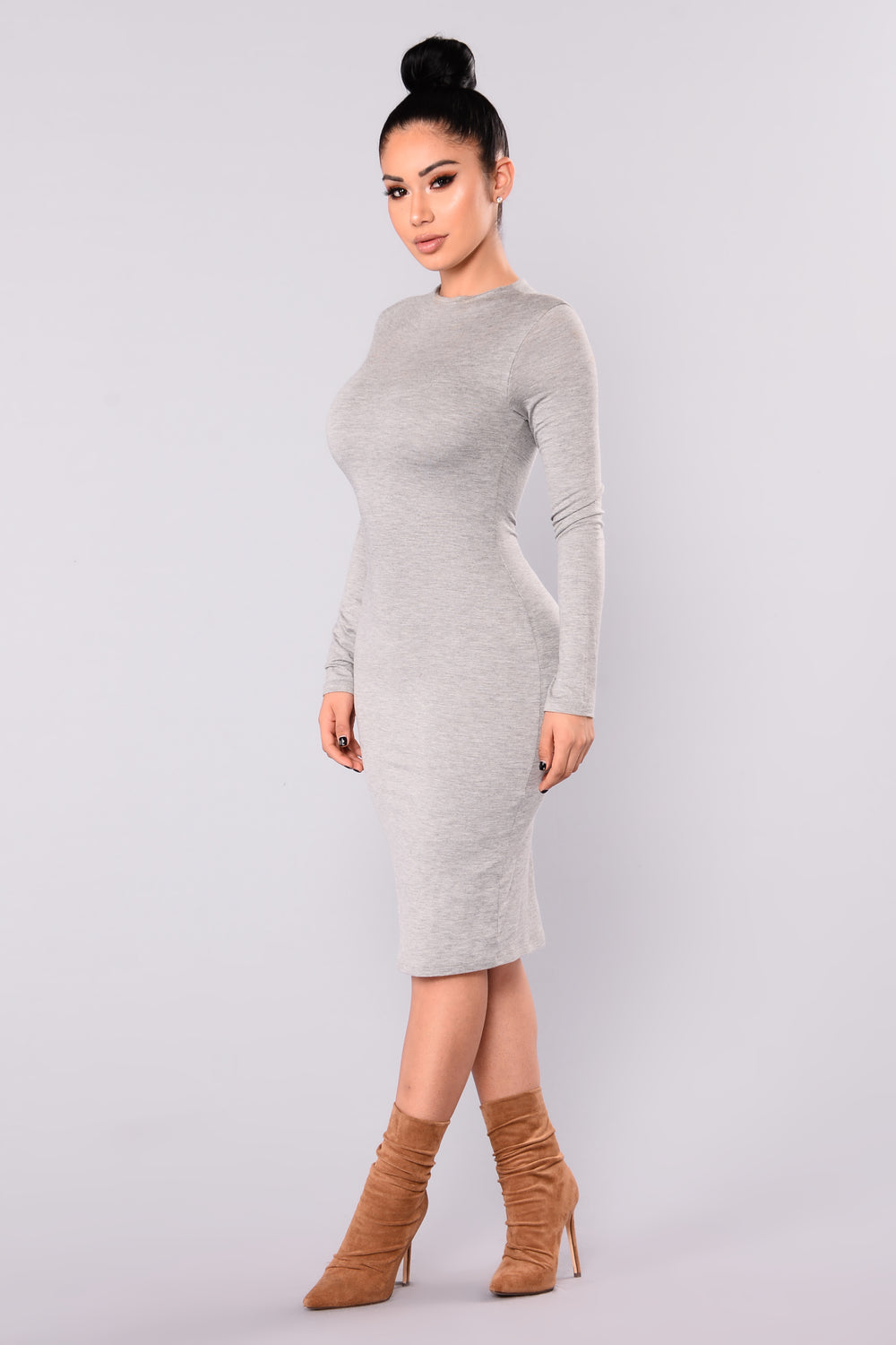Kora Midi Dress - Heather Grey
