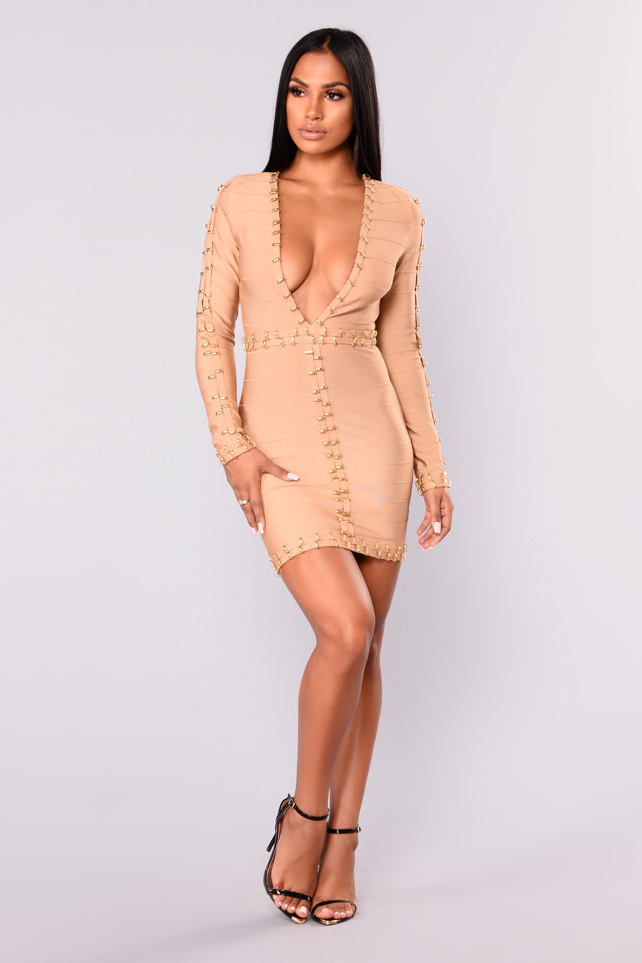 Bandage Dress Gold